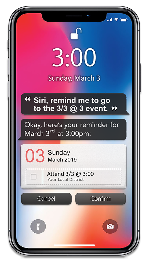 "Image: Smart phone with message: ""Siri, remind me to go to 3/3@3 event."""